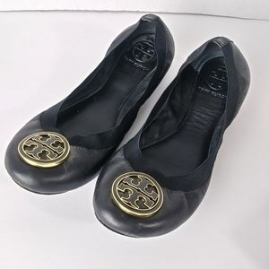 Tory Burch Caroline  Mestico Black Leather Flats.8